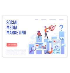 social media marketing flat landing page vector image