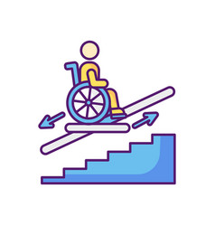 Stair lift rgb color icon vector