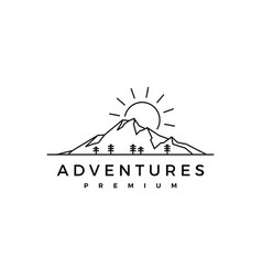 sunrise mountain pine wood adventure logo icon vector image