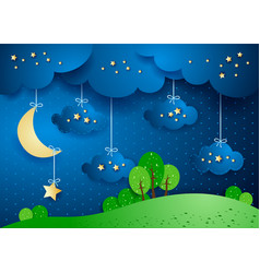 surreal landscape by night with hanging clouds vector image