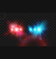 Template flash red and blue light police car vector