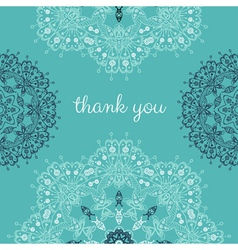 Thank you card with abstract mandala lace vector image