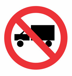 truck prohibition sign vector image