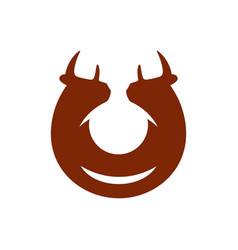 two bulls sign vector image