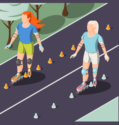 Two young women riding on rollers vector