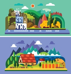 Village landscape vector