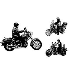 vintage motorcycles sketch vector image