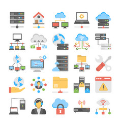 Web hosting flat icons vector