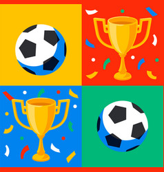 winner gold cup football ball and confetti in pop vector image
