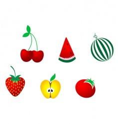 icons of fresh fruits vector image