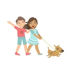 Boy And Girl Walking The Dog Together vector image vector image