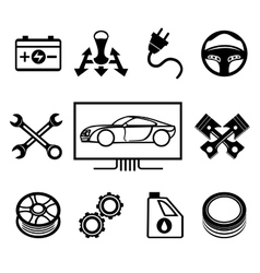 Car maintenance or service icons vector image vector image