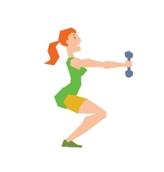 Girl exercise training doing squats vector image