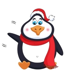 New Years kind cheerful cute penguin welcomes vector image