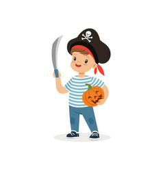 pirate boy holding sword and pumpkin cute kid in vector image