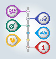 set of icons with scheme and steps of work vector image vector image