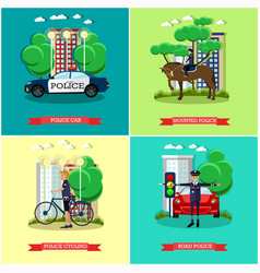 set of police posters in flat style vector image