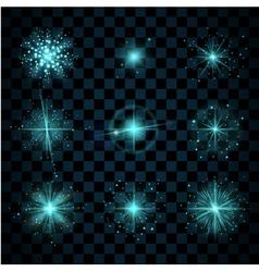 Shine blue stars glitters vector image