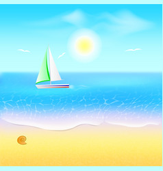 beach and tropical sea with boat paradise beach vector image