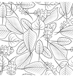 Black and white coloring leaves seamless pattern vector image