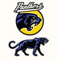 black panther mascot set vector image vector image