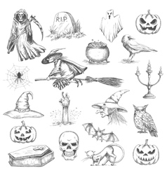Halloween party sketch decorative icons vector image