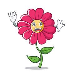 waving pink flower character cartoon vector image vector image