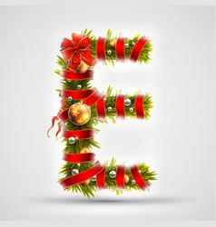 christmas font letter e of christmas tree vector image vector image