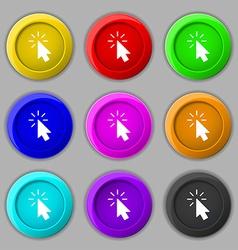 Cursor icon sign symbol on nine round colourful vector image