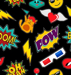 Stitching patches retro pop icons seamless pattern vector image vector image