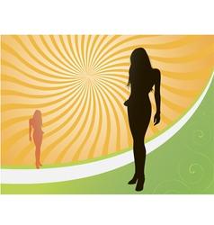 sunset girl vector image