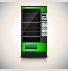 Vending Machine with shelves green coloor vector image