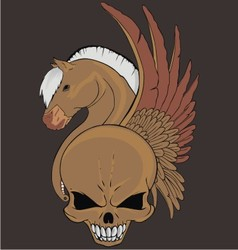 wing horse skull vector image