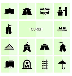 14 tourist icons vector image