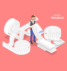 3d isometric flat concept money troubles vector
