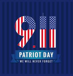 9 11 partiot day usa card vector