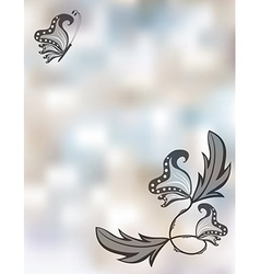 Abstract pastel background with butterflies vector image