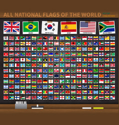 all national flags world on realistic vector image