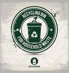 alternative recycling bin stamp vector image
