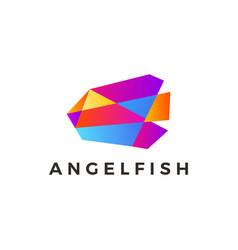 angel fish geometric polygonal gradient logo icon vector image