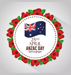 Anzac day lest we forget badge flowers border vector
