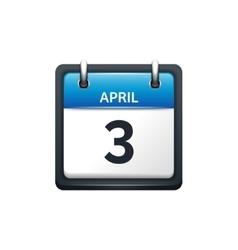 April 3 Calendar icon flat vector