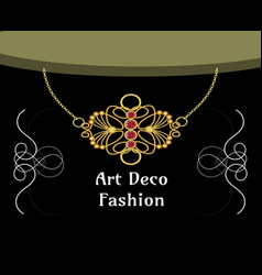 Art deco necklace with rupendant isolated vector