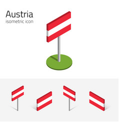 Austrian flag set of 3d isometric icons vector