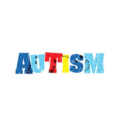 autism concept colorful stamped word vector image
