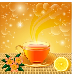 background with flower tea vector image