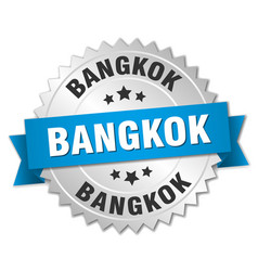 Bangkok round silver badge with blue ribbon vector