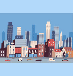 big city life panoramic view modern downtown vector image