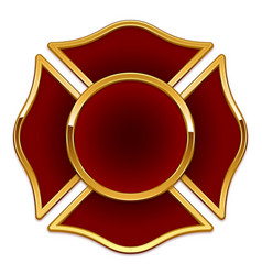 Blank fire dept rescue logo dark red and gold vector