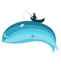 blue whale and fisherman vector image